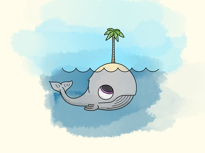 The Birth of an Island stranded island desert palm tree cute nature ocean whale