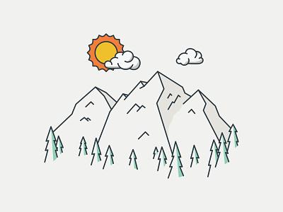 Sunny Colorado nature scenery view trees clouds simple landscape sun mountains colorado