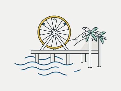California Coast ferris wheel palm trees ocean waves beach california santa monica