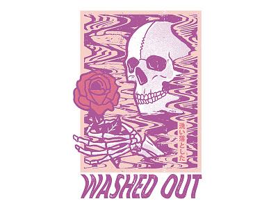 Washed Out merch design band merch band design shirt design drawing illustration rose skull