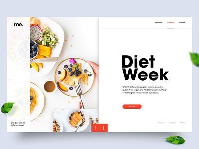 Diet week salade shop leaf healthy detox diet red minimal webdesign website concept homepage adobe xd ux ui