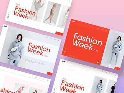 Fashion week pink grey fashion brand webdesign web design website modern streetwear minimal red editorial fashion editorial design