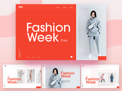 Fashion week modern editorial streetwear grey pink shopping fashion editorial design red website webdesign homepage minimal adobe xd ux ui