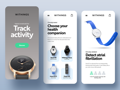 Withings n°2 e-commerce android app ios app mobile design mobile app mobile ui mobile ui adobe xd green blue grey minimal webdesign watch healthcare shopping app