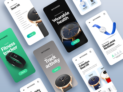 Withings n°2 blue black  white brown green watch mobile design mobile app mobile ui mobile health app healthcare e-commerce ios app android app adobe xd ui