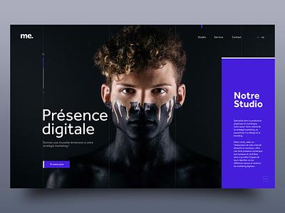 Présence digitale agency black purple agency website dark homepage webdesign website minimal adobe xd ux ui
