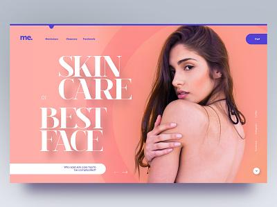 Skin care n°2 minimalist healthy editorial design skincare pink purple typography flat simple clean website webdesign minimal adobe xd ui