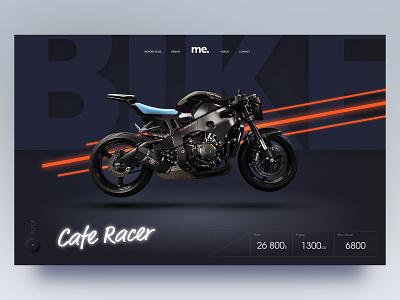 Bike n°2 motorcycle bike orange dark clean simple adobe xd ui webdesign homepage minimal