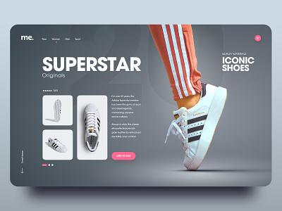 Superstar red pink grey shoes sneakers dark simple clean website webdesign homepage minimal adobe xd ui