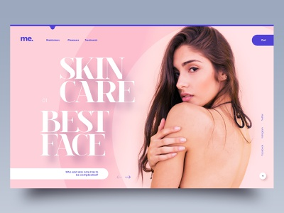 Skin care n°3 simple flat editorial purple skin care healthy editorial design clean website webdesign minimal adobe xd ui