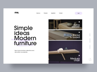 simple ideas, modern furniture layout minimalist photography whitespace modern purple interior furniture design furniture store furniture typography simple flat clean website webdesign homepage minimal adobe xd ui