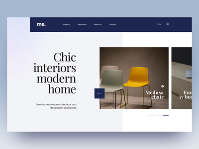 Chic interiors blue yellow whitespace adobe xd clean simple layout minimal website webdesign homepage furniture website shopping furniture store furniture editorial design editorial