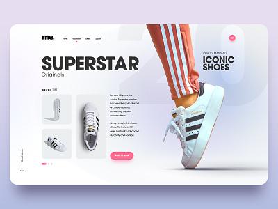 Superstar n°2 adidas white layout shoes sneakers pink ux website simple minimal homepage webdesign ui adobe xd