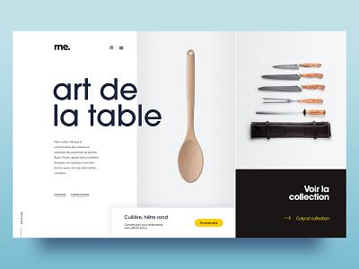 Art de la table grey yellow shopping app shop cutlery web flat design graphicdesign clean ux website homepage webdesign minimal ui layout