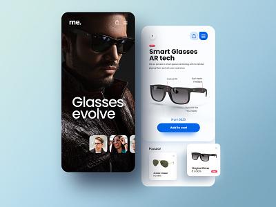 Glasses evolve ui ray-ban prototype glasses ecommerce app ecommerce app android app ios app mobile webdesign design website simple minimal adobe xd ux