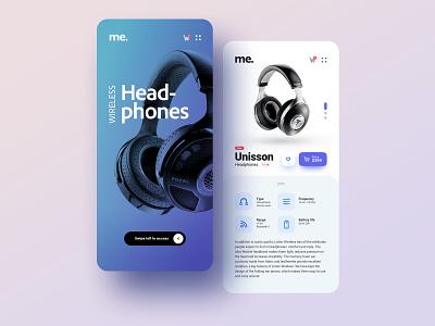 Wireless headphones design ux ui minimal music online shop ecommerce app ecommerce android app ios app app design app clean ui simple wireless headphones
