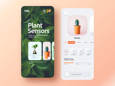 Plant sensors orange green mobile app ios app android app domotic home automation automation sensors plant sensors plant