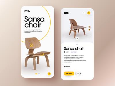 Sansa chair yellow simple app ios app android app wood chair interior design interior