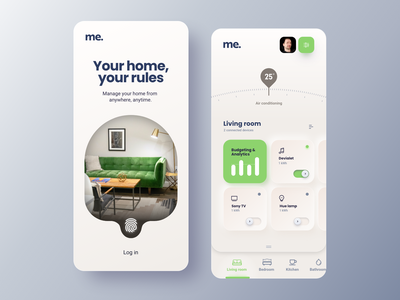 Smart home green remote control uxdesign smart home app smart devices mobile mobile app home automation ux ui uiux smart app minimal automation smart home smarthome