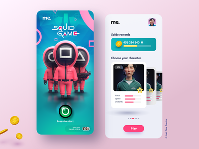 Squid Game cloud gaming video games rewards coin ios app ios android app android mobile app mobile green pink ui 3d netflix movies tv show squidgame squid game squid