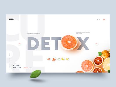 Detox grapefruit green healthy leef orange typography minimal website adobe xd concept ux ui detox fruit