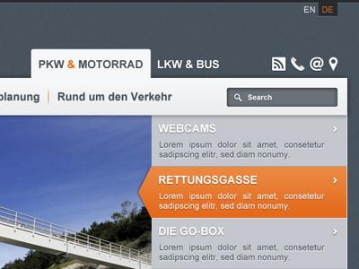 motorway company website webdesign website navigation