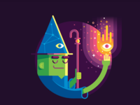 Wizards infographic vector illustration badge icon fantasy person people character glow magic wand magic wizardry wizards
