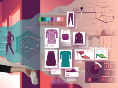 Retail Ai infographic vector illustration airplane data map skirt high heels high heel purse dress products icons shopping retail ai
