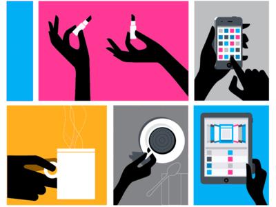 Flat Vignettes illustration icons hands flat color vector silhouette