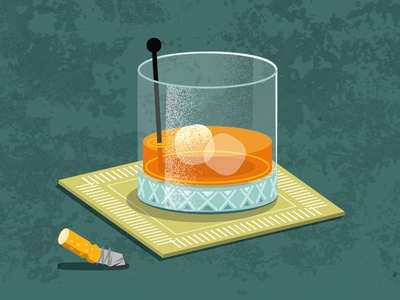 Orange Stoli glass drink cigarette