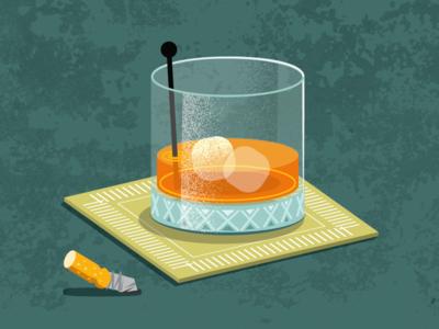 Orange Stoli glass drink cigarette