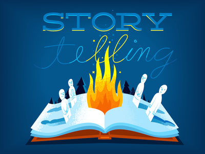Storytelling pop-up book fire illustration