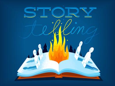 Storytelling pop-up book fire illustration