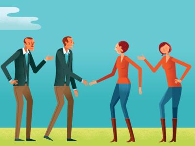 Character Study1 handshake vector people