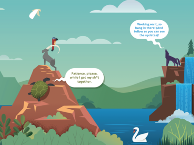 Patience is a Virtue clouds parrot ram landscape nature goat mountain waterfall wolf turtle animals stl icons infographic vector illustration