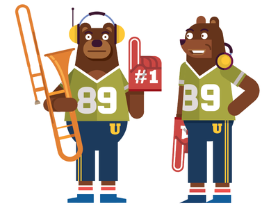 Number 1 Fan person illustration animal headphones fan trumpet music band vector character bear
