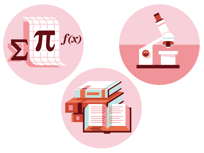 Education Icons: Math, Science, ELA vector icons pie microscope books reading science math education