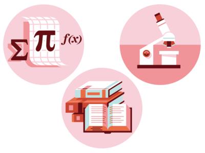 Education Icons: Math, Science, ELA