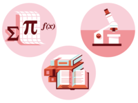 Education Icons: Math, Science, ELA