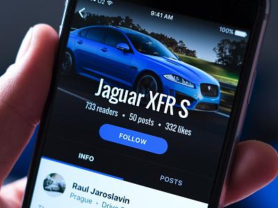 Automotive app — profile 😎 photo tabs hue blue car app ios