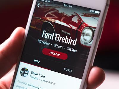 Automotive app — profile stats profile hand red automotive car app ios