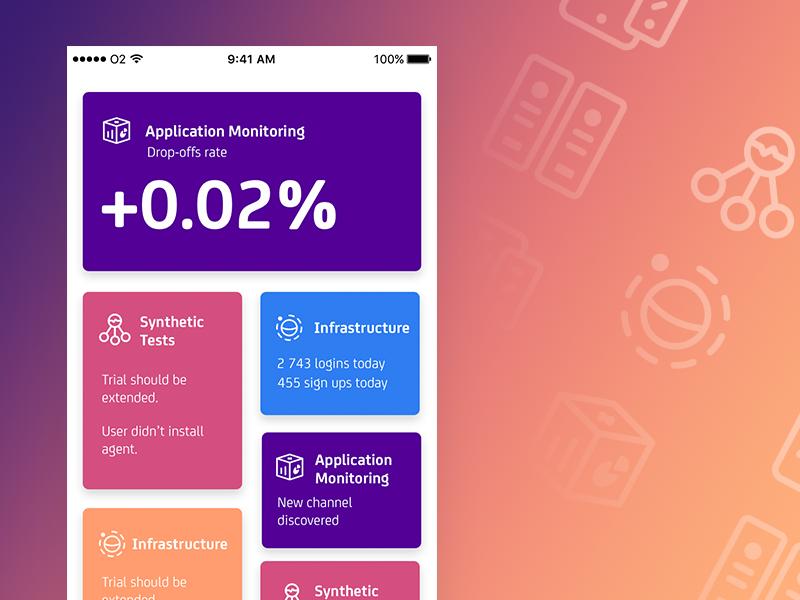 CA Technologies mobile branding exploration dashboard card app blue red violet vibrant ui ux ios