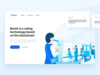 Boule — blockchain voting. Landing page. light blue voting vote blockchain illustrations clean design ui ux landing page