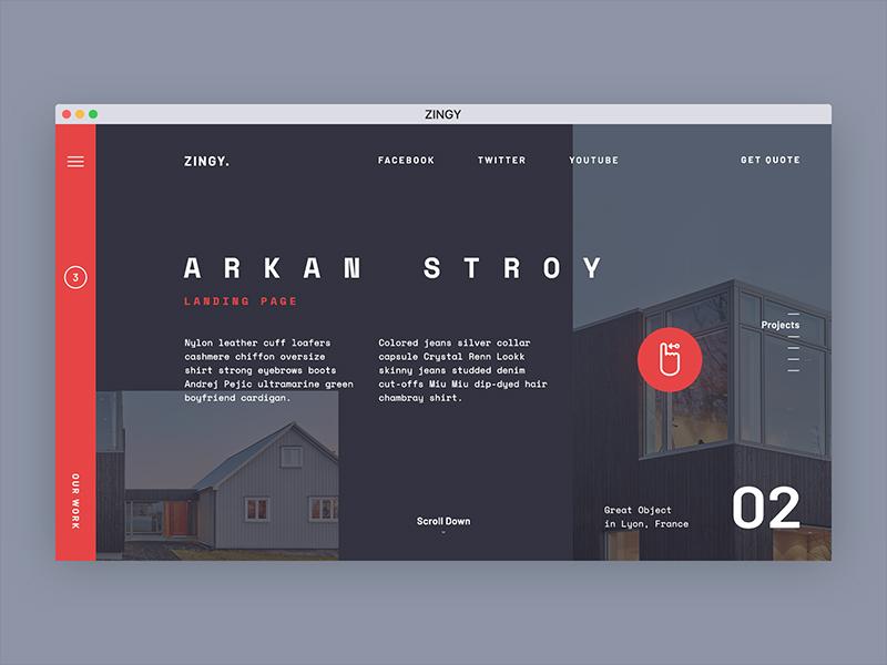 Zingy. Landing page concept. typography landing estate red dark squares design ui ux