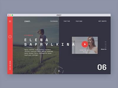 Zingy. Landing page concept. ux ui design squares dark red estate landing typography