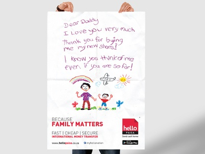 Because Family Matters - From the letters of a child Campaign design billboard poster advertising art paper pastels marketing graphic design drawing