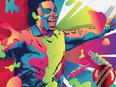 Billboard LPL Cricket Illustration man gradient colorful color colour colourful ball cricket illustrator vector illustration