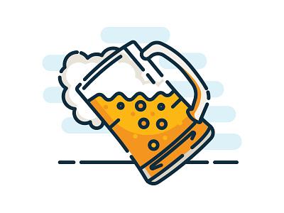 Beer O'clock mbe illustration line beer