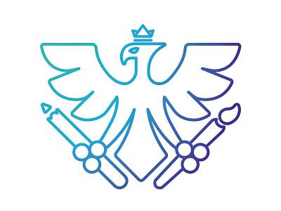 New Improved Graphanix Digital Logo Design brush pencil agency design blue icon graphics phoenix branding logo