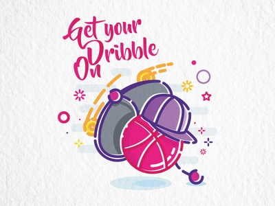 Get your dribble on skateboard ball cap color colour fun illustration vector line mbe dribble